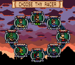 Epic Racers, player selection screen